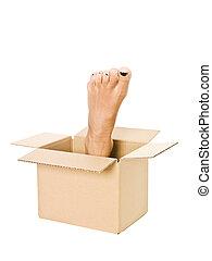 pé humano, em, um, caixa papelão