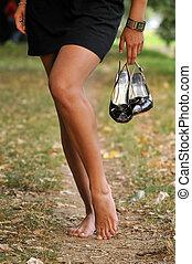pé, mulher, ao ar livre, nu, passeio