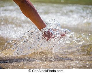 pé, mulher, praia