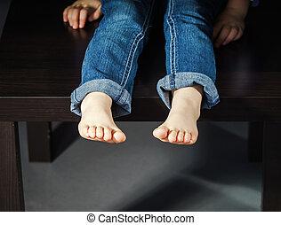 pé, pequeno, nu, menina
