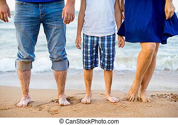 pé, praia, adultos, criança