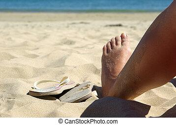 pé, praia