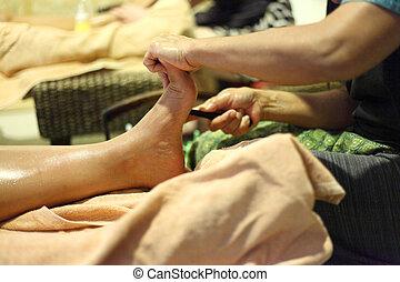 pé, reflexology, massagem, tratamento, spa