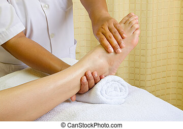 pé, reflexology, massagem, tratamento, spa