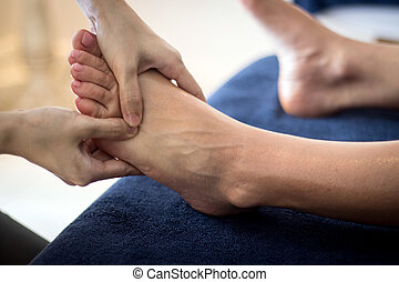 pé, reflexology, tailandês, massagem