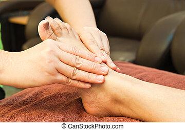 pé, reflexology, tratamento, massagem, spa