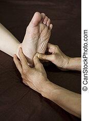 pé, reflexology, treatment., massagem, spa