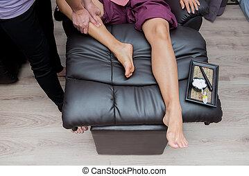 pé, spa, tailandês, massagem