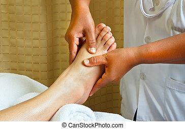 pé, spa, treatment., massagem