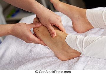 pé, tailandês, massagem
