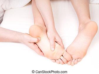 pé, terapeuta, massagem