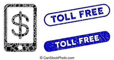 péage, mosaïque, paiement, gratuite, grunge, mobile, cachets, rectangle