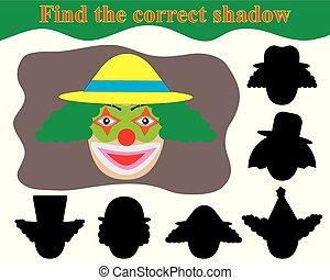pédagogique, clown., shadow., trouver, jeu, children., figure, correct, heureux