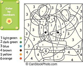 pédagogique, coloration, couleur, game., enfants, plant.,...