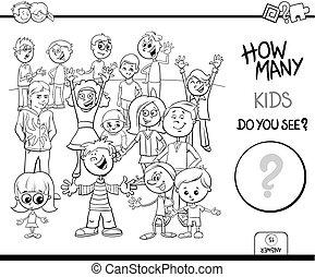 pédagogique, couleur, jeu, livre, caractères, dénombrement, enfants