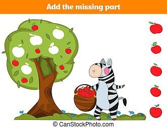 pédagogique, disparu, game., puzzle, jeu, trouver, visuel, préscolaire, worksheet, children., task:, parts., kids.