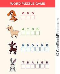 pédagogique, droit, lettres, ferme, game., puzzle, enfants, endroit, mots, animaux, ordre