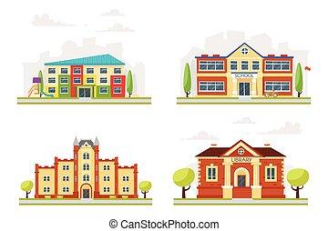 pédagogique, ensemble, bâtiments