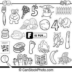 pédagogique, f, tâche, livre coloration