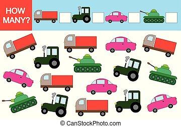 pédagogique, game., comment, transports?, activité, children., beaucoup