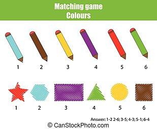 pédagogique, game., jeu, enfants, couleurs, apprentissage, assorti