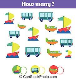 pédagogique, gosses, apprentissage, addition, beaucoup, jeu, sheet., nombres, comment, thème, objets, mathématiques, activité, dénombrement, enfants, task.
