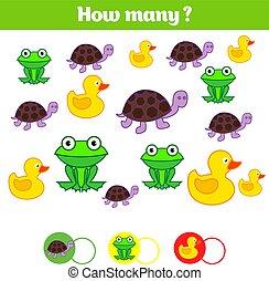 pédagogique, gosses, apprentissage, beaucoup, sheet., comment, objets, jeu, mathématiques, activité, dénombrement, enfants, task., nombres