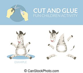 pédagogique, gosses, couper papier, jeu, préscolaire, illustration, colle, zebra, vecteur