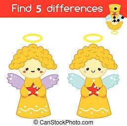 pédagogique, gosses, feuille, angels., game., différences, enfants, thème, année, nouveau, noël, activité, trouver