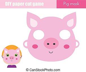 pédagogique, gosses, feuille, printable, game., faire, masque, figure, enfants, papier, scissors., bricolage, animal, fête, cochon, créatif