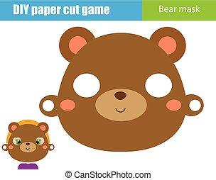 pédagogique, gosses, feuille, printable, game., faire, masque, ours, figure, papier, scissors., bricolage, animal, fête, créatif, enfants