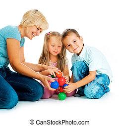 pédagogique, gosses, floor., enfants, jeux, jouer