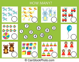 pédagogique, gosses, objets, beaucoup, jeu, comment, tâche, activity., dénombrement, enfants