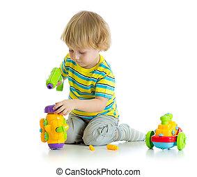 pédagogique, isolé, blanc, enfant,  adorable, jouer