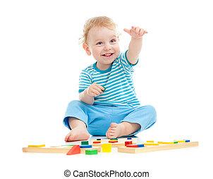 pédagogique, isolé, gai, jouets, blanc, gosse, jouer, ...