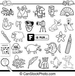 pédagogique, jeu, f, livre coloration