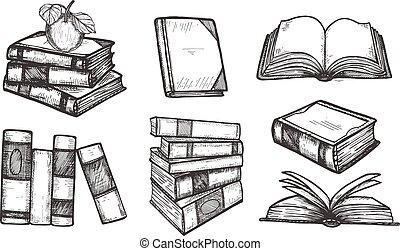 pédagogique, livres, collection, icônes