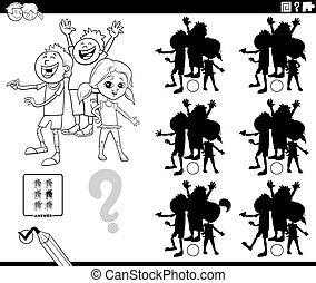pédagogique, page, jeu, coloration, enfants, ombres, livre
