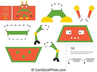 pédagogique, papier, gosses, toy., vecteur, worksheet, colle, préscolaire, coupure