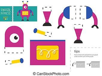 pédagogique, papier, robot, activité, toy., caractère, vecteur, colle, coupure