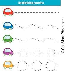 pédagogique, sheet., pratique, jeu, écriture, enfants