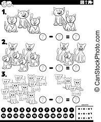 pédagogique, soustraction, tâche, couleur, page, chats, livre