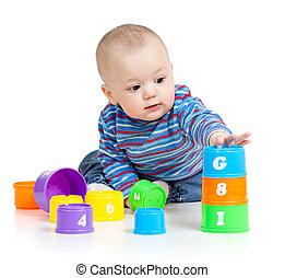 pédagogique, sur, isolé, jouets, bébé, blanc, jouer