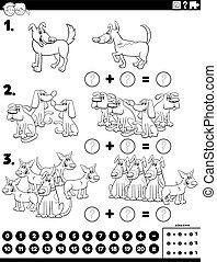 pédagogique, tâche, chien, addition, maths, caractères