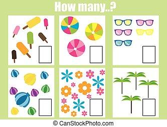 pédagogique, tâche, game., comment, objets, beaucoup, dénombrement, enfants
