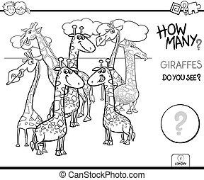pédagogique, tâche, girafes, couleur, livre, dénombrement