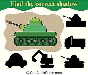 pédagogique, tank., trouver, jeu, children., ombre, correct