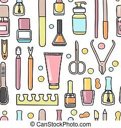 pédicure, modèle, equipment., seamless, vecteur, manucure, griffonnage
