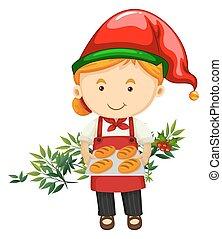 pék, bread, téma, karácsony
