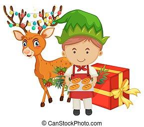 pék, téma, rénszarvas, karácsony